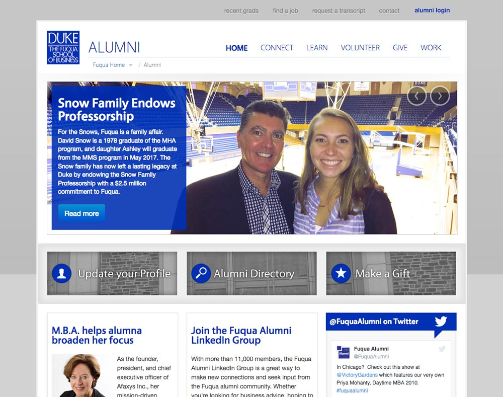 Thumbnail of Duke Fuqua Alumni website